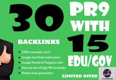 30 PR9 Backlinks and 15 .Edu/.Gov Backlinks only