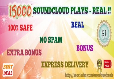 I will give more than 15000 Soundcloud plays with bon... for $1