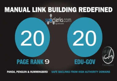 20 PR9 Backlinks and 20 .Edu/.Gov Backlinks only