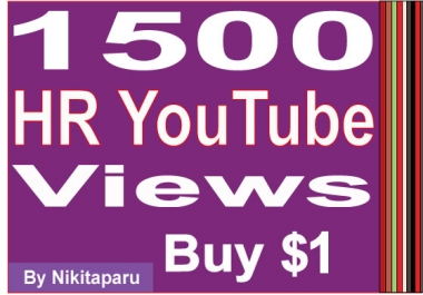 Add 1300-1500+ High rentention Youtube views within 6 hours
