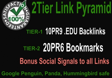 Create 2 Tier Link Pyramid using 10PR9 Edu Domains with 20 PR6 Social Bookmarks