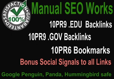 Create 30 PR9 backlinks using Web2, Social Bookmarking , Edu and Gov Domains