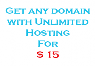 Offer you any domain with unlimited hosting