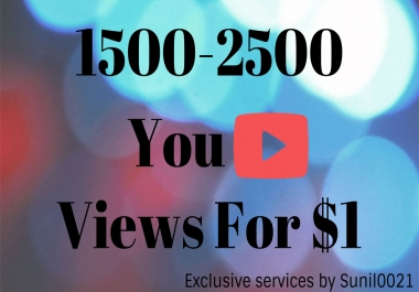 1500 To 2500 High Retention Desktop Youtube Views