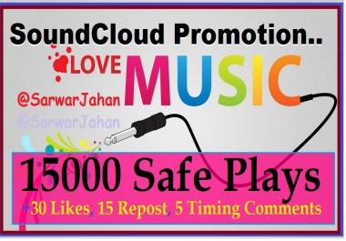 Add 15K Soundcloud Real Plays and 30 Likes, 15 Repost... for $1