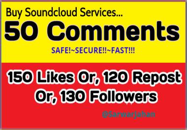 A great Discount! 150 Soundcloud Likes OR, 120 Repost OR, 50 Unique soundcloud Comments