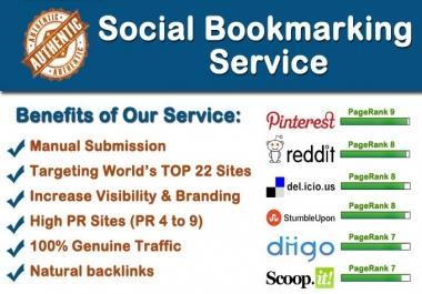 maNUALLY do social bookmarking in top 22 sites PR4 to PR9