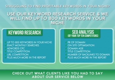 I will do keyword research AND a seo report on the top ten competitors