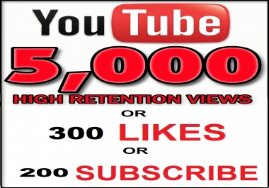 Add 5,000 HR Views or 300 Youtube Likes  or 200 Youtube Subscribe