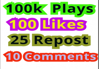 100,000 Soundcloud  Plays 100 Non-Drop Likes  25 Repost 10 Comments
