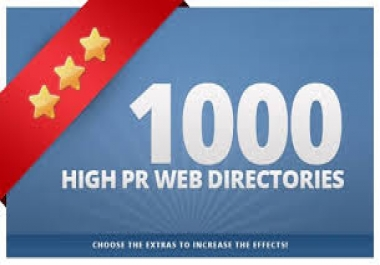 I will submit your site to 1000 High PR web directories, google and youtube friendly for
