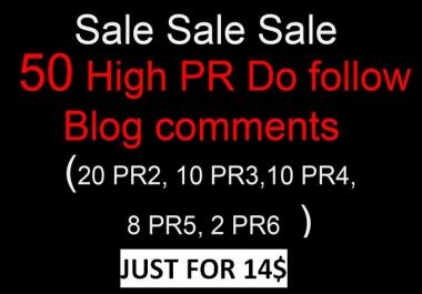 I will do manually 50 links 20 PR2,10 PR3,10 PR4,8 PR5,2 PR6 Dofollow blog comments