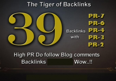 I will do 01xPR7, 03xPR6, 05xPR5, 10xPR4, 10xPR3, 10xPR2,High PR Dofollow Blog comments