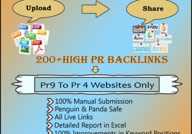 I will upload your docs or pdfs to 40 Doc Sharing sites each total 200 of high PR