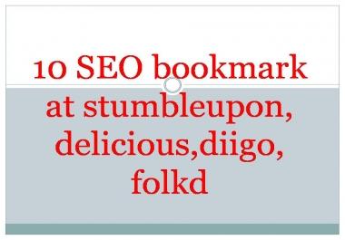 10 SEO bookmark at stumbleupon,delicious,diigo,folkd for $1