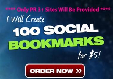 Will DO 100 Top Social Bookmarking PR 3+ Manually