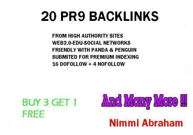 I Will really create you 20 PR9 backlinks from 20 different high PR sites.