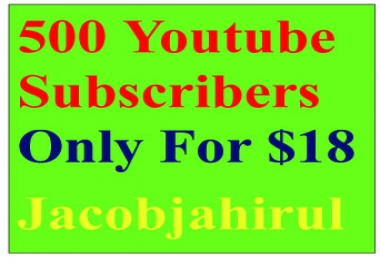 Provide you 500 + Real Active Human Verified YouTube Subscribers only