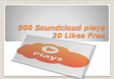 I will give you 500 Soundcloud plays and 20 Likes FREE OR 35 Reposts in your selected track just