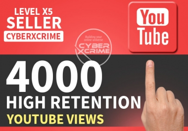Give you 4000+ High Retention YOUTUBE Views In less then 24-48 Hour