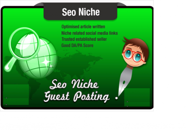 write and Blog Post an Seo Niche Related article on a Keyword Rich Quality Site
