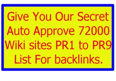 72000 Wiki Sites PR1 To PR9 List For Backlinks All High PR and Auto Approve