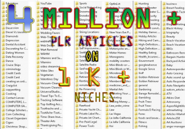 I will give you 4 million plus PLR articles on 1k plus niche With Bonus