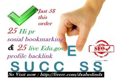 create 25 Hi pr sosial Bookmark with 25 Live Edu profile Backlinks