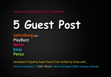 Publish 5X High Quality Guest Post On DA 60+ to 100 Platforms