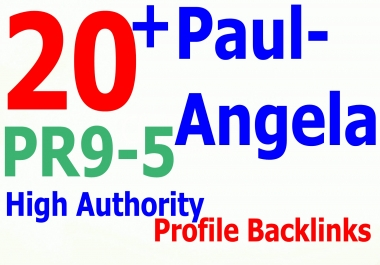 I will manually create 25+ PR5-9 Paul-Angela High Authority Profile backlinks, best links forever