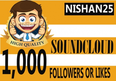 Fast 1,000 Soundcloud Followers Or 1,000 Soundcloud Likes Only