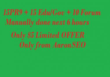 I will create Manually HIGH AUTHORITY 15PR9 + 15 EDU/GOV + 10 Forum backlinks-2015 best SEO Result