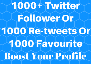 add 1000+ Twitter Follows or 1000 Re-weet or 1000 Favorite