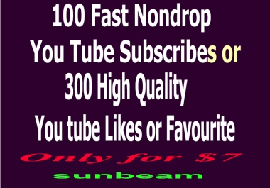 give you 100 + FAST real human You Tube Subscribers or 300 likes or Favorites