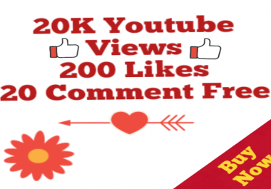 Safe 20,000 Views+200 Likes+20 Youtube Custom Comment