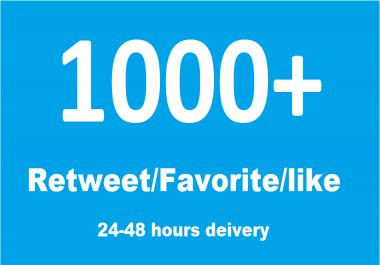 Get 1000- 1200 Followers Or Re Tweet or favorite in short time
