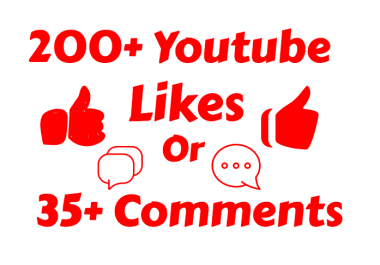 add 250-300+ Real Youtube Likes Or 4000+ Youtube Views or 35 Custom Comments