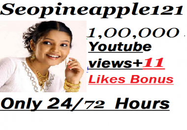 100000+ HR YouTube Views + 100 Extra Bonus YouTube Likes Real And Non Drop