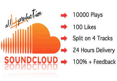 AMAZING!! 10000 Soundcloud Plays and 100 Soundcloud Likes Max Split on 4 Tracks Reseller Offer