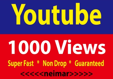 1000 Yutube Views Super Fast Non Drop Lifetime Guaranteed 48 Hrs. Delivery