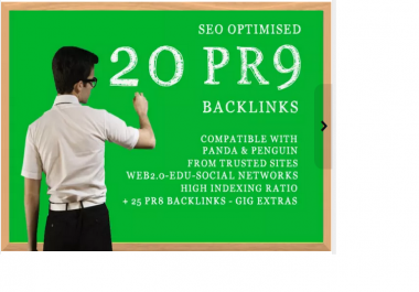 set up 20 seo backlinks from PR 9 high authority domains