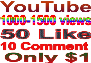 I will give you real 1000-1500  youtube views & 50 Like & 10 Comment