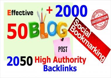 New 50 Effective Blog Post Backlinks +2000 HQ Do follow Social Bookmarks Backlinks