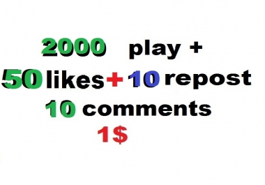 2000 soundcloud plays 50 likes and 10 comments and 10 repost