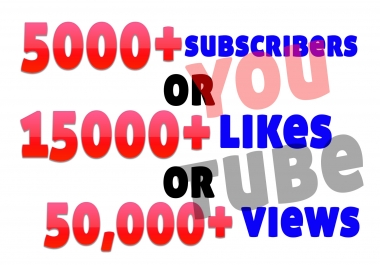 add 5000+ youtube subscribers or 15000+ youtube likes or 50,000 youtube views