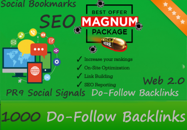 Magnum SEO - 10,000 PBN Backlinks, PR9 Social Signals, Do-Follow links, High PA and DA Posts and Social Bookmarks including promotion on Social Media and a lot more - Google Safe