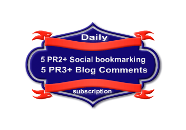 Daily Manually Create Penguin 2.1 Safe 5 PR3+ Blog Comments + 5 PR2+ Social Bookmarks