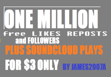 1 MILLION USA Soundcloud Plays with free 200 USA Followers , 100  likes and 100 reposts