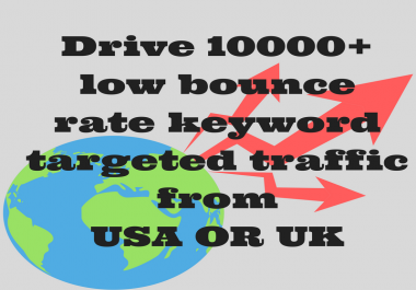 Drive 10000+ Low bounce rate human traffic from USA or UK