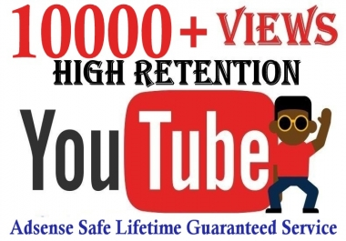 High Retention 10,000+ YT views Safe and Non Drop Lifetime Guaranteed Service